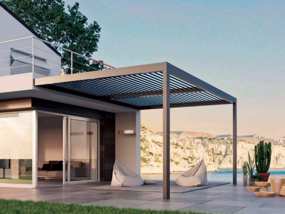 Motorized aluminium pergola with adjustable louvers with built in lights all - Pergola avec toile retractable ...