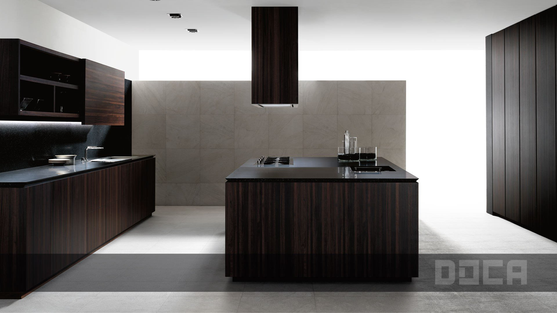 Wood veneer kitchen with island angon mocca by doca for Muebles de cocina kitchen