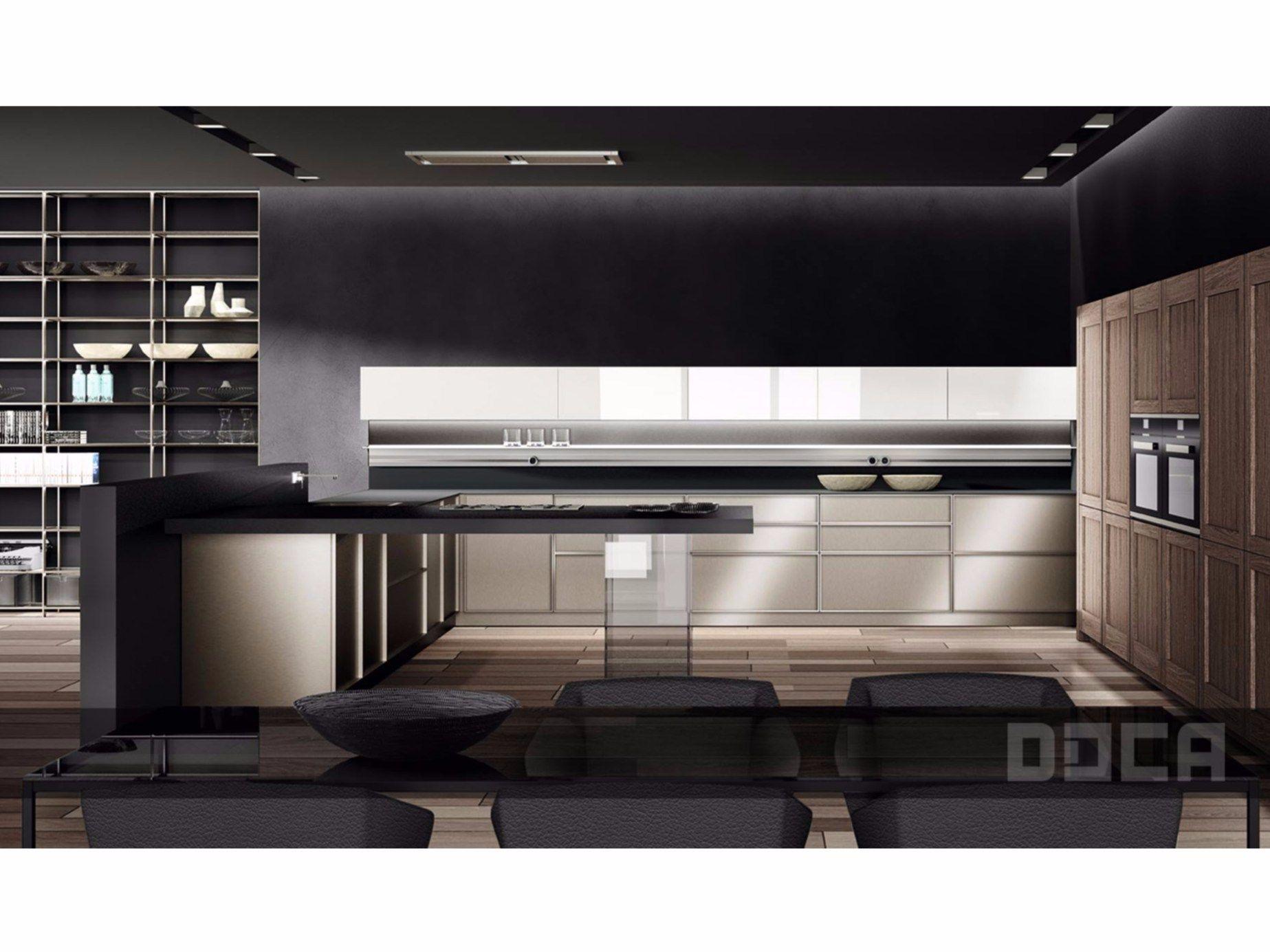 Küche mit halbinsel anvil acero frame karee ideco blanco by doca