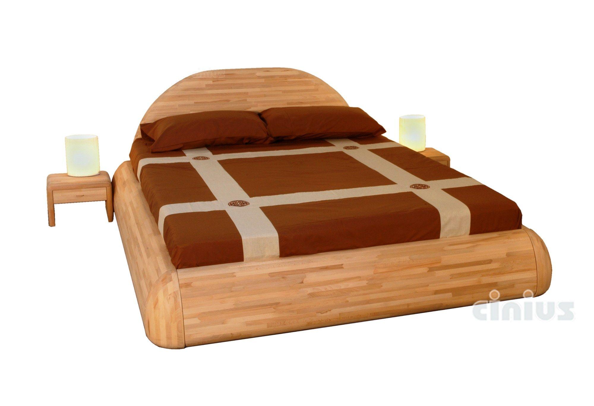 lit double en bois massif. Black Bedroom Furniture Sets. Home Design Ideas