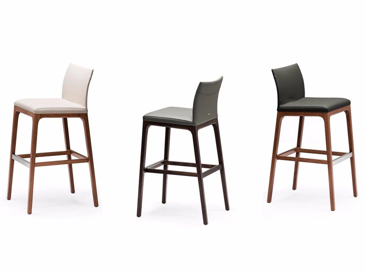 Chaise de bar en cuir avec repose pieds arcadia collection - Chaise de bar cuir ...
