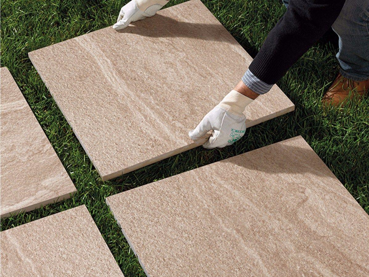 Pavimento a secco per esterni in gres porcellanato artica - Posa piastrelle giardino a secco ...