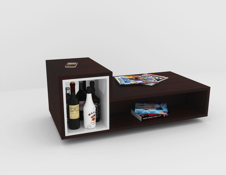Rectangular multi layer wood coffee table bar lb2 by malherbe edition design - Table basse bar wenge ...