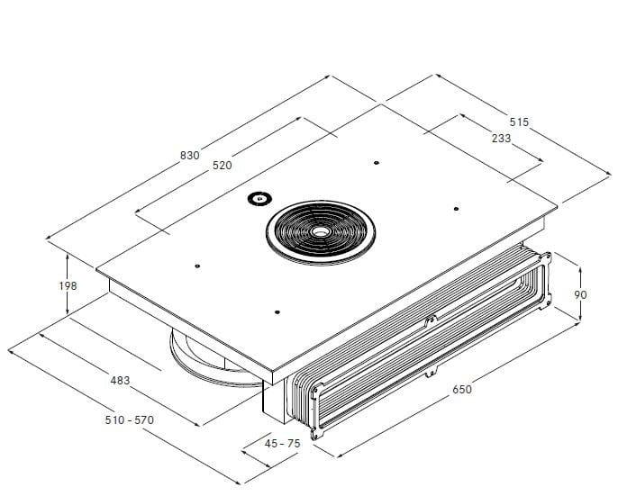 Piano cottura a induzione in vetroceramica bfiu linea bora for Piano cottura bora