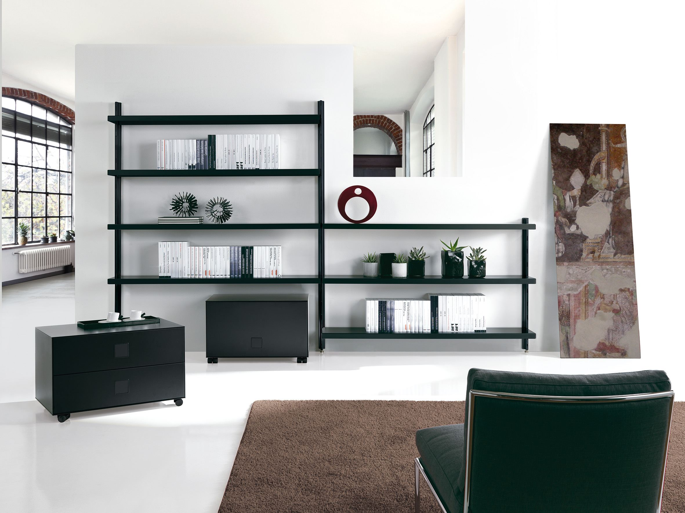 Big home wall mounted bookcase by caimi brevetti design - Wall mounted bookshelf designs ...