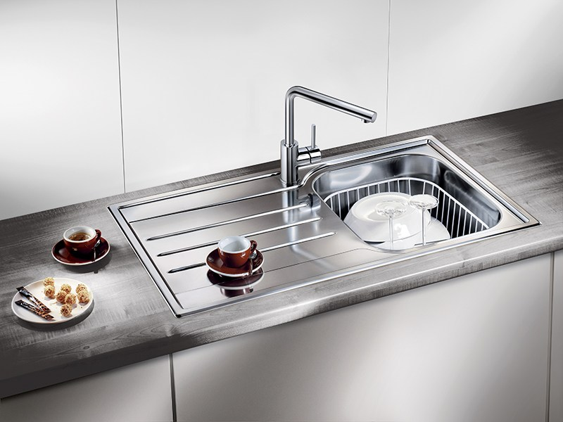 Lavello a una vasca da incasso in acciaio inox con sgocciolatoio BLANCO MEDIAN 45 S by Blanco