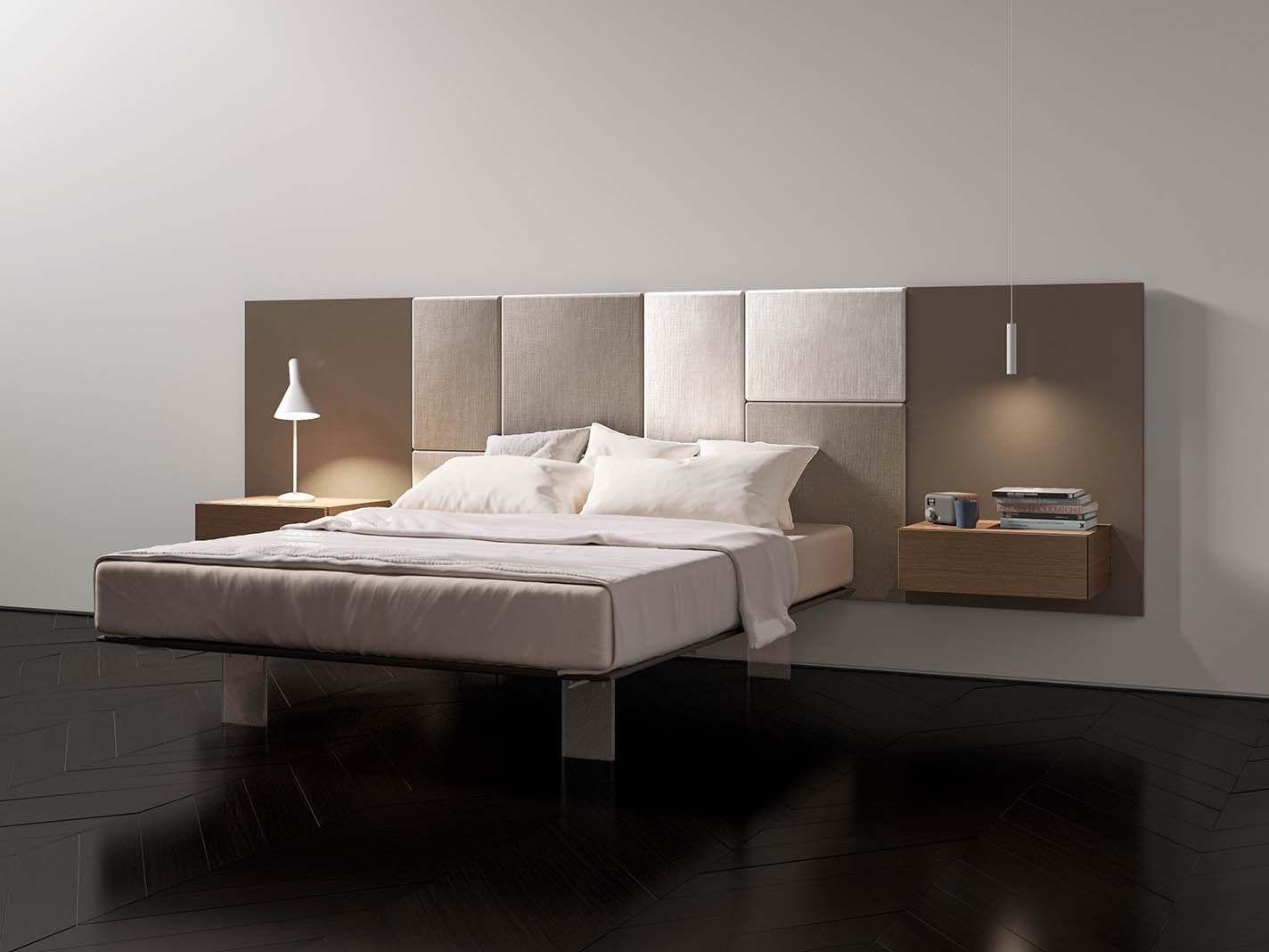 Testiera imbottita laccata in tessuto in stile moderno per letto matrimoniale boiserie mod p442 - Testiera letto imbottita ...