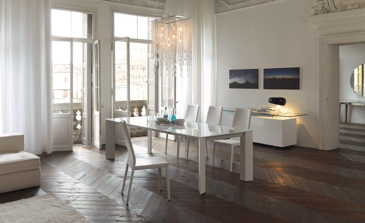 Ausziehbarer rechteckiger tisch aus kristall brera by for Tisch design andrea