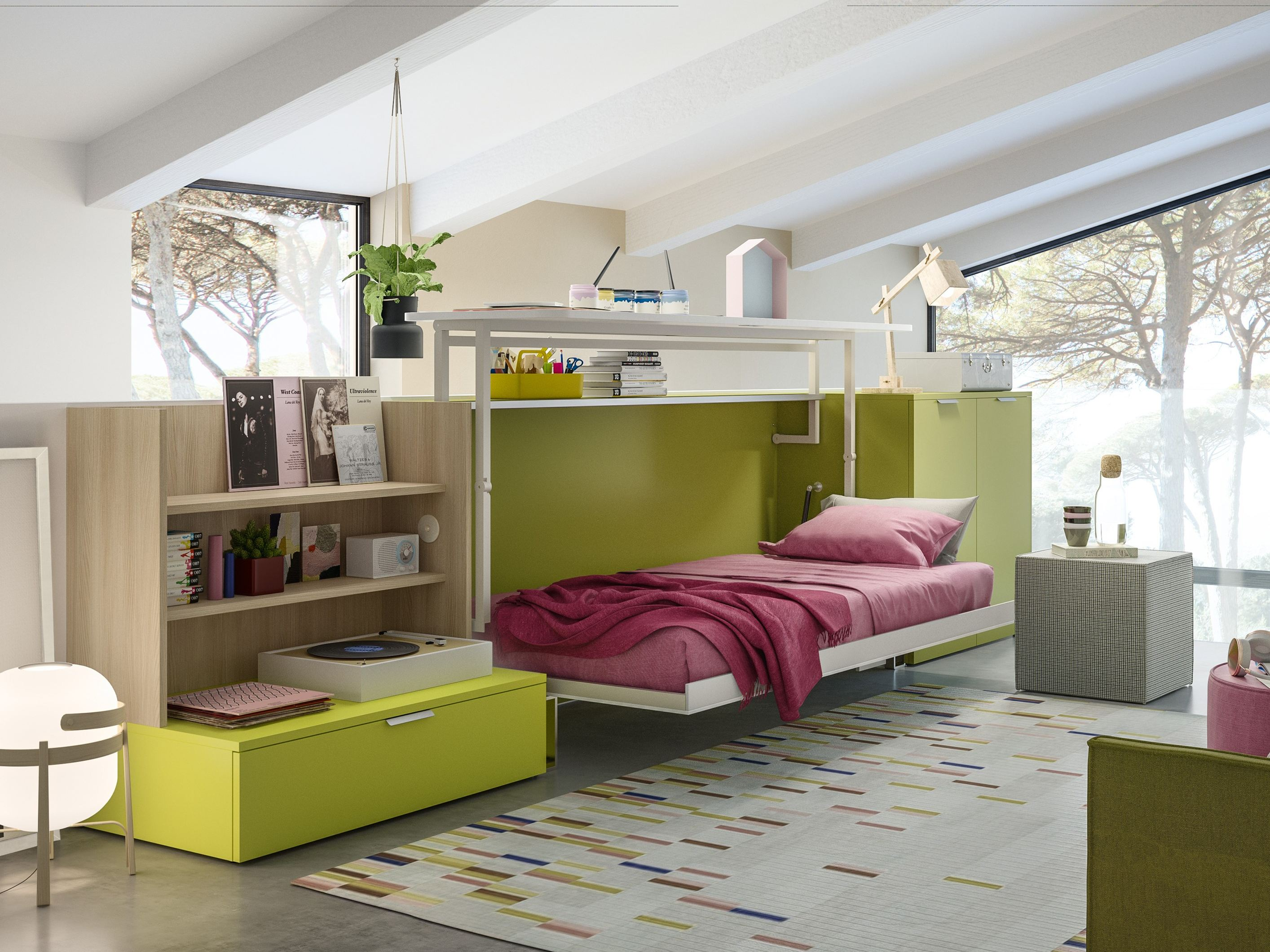 Convertible single bed cabrio in by clei for Letto 3d dwg