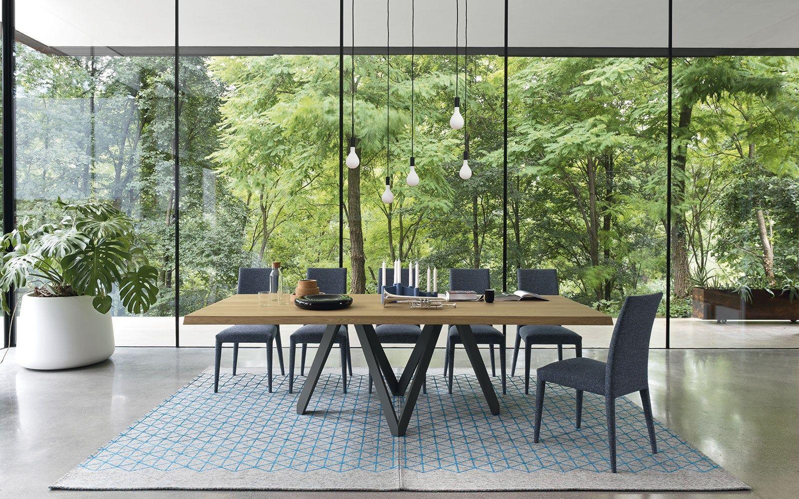 Tavolo rettangolare in legno impiallacciato cartesio by for Tavolo rettangolare design