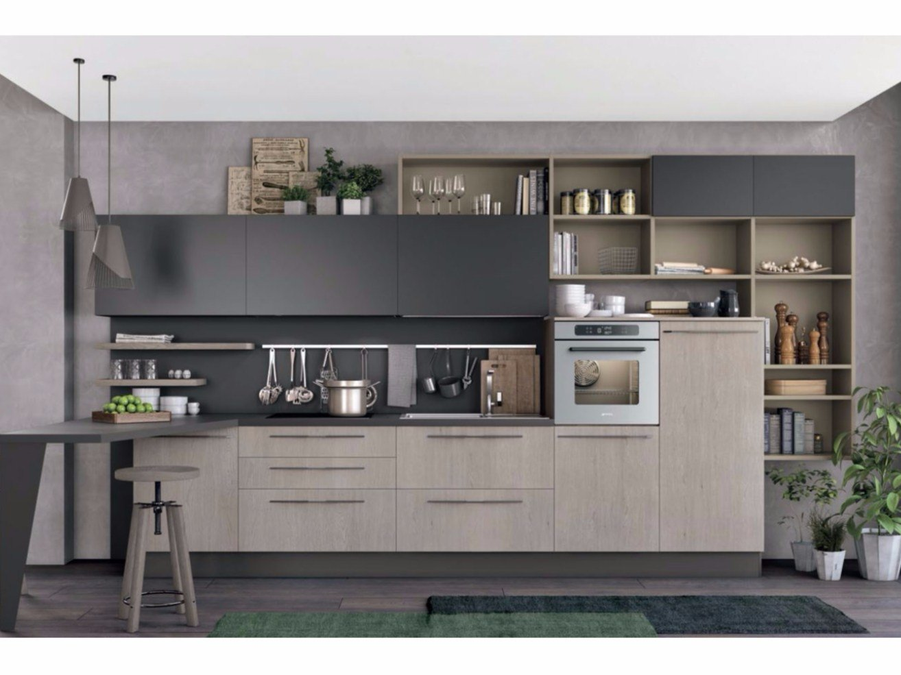 Cucina componibile lineare clover 03 by cucine lube - Foto cucine moderne ...