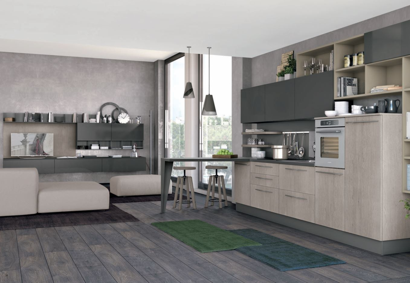 cuisine int gr e lin aire clover 03 by cucine lube. Black Bedroom Furniture Sets. Home Design Ideas