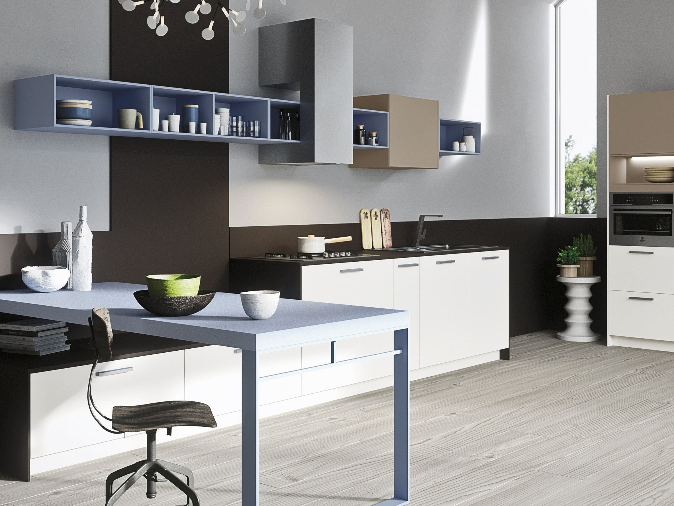 Code kitchen with peninsula sistema collection by snaidero for Snaidero kitchen