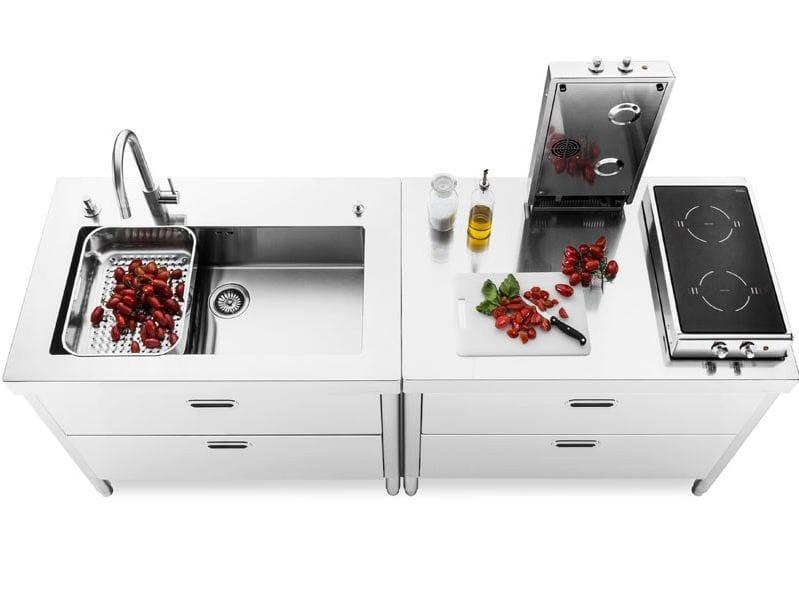 Composizione cucina 100 modulo cucina con cassetti by alpes inox for Cucine alpes inox prezzi