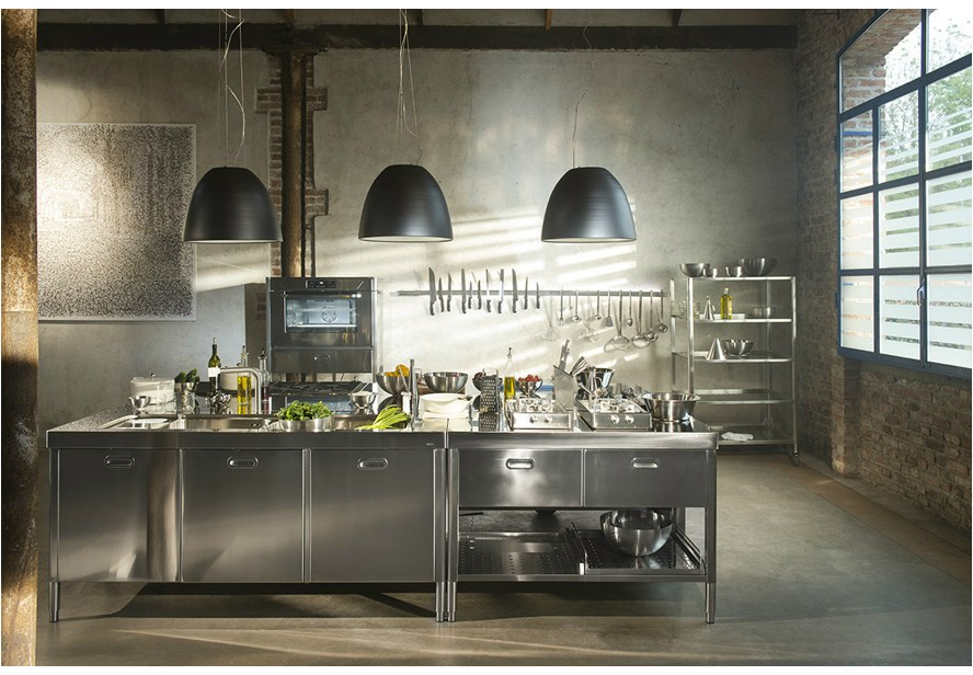 composizione cucina a blocchi 195x320 el ment de cuisine sur mesure by alpes inox. Black Bedroom Furniture Sets. Home Design Ideas