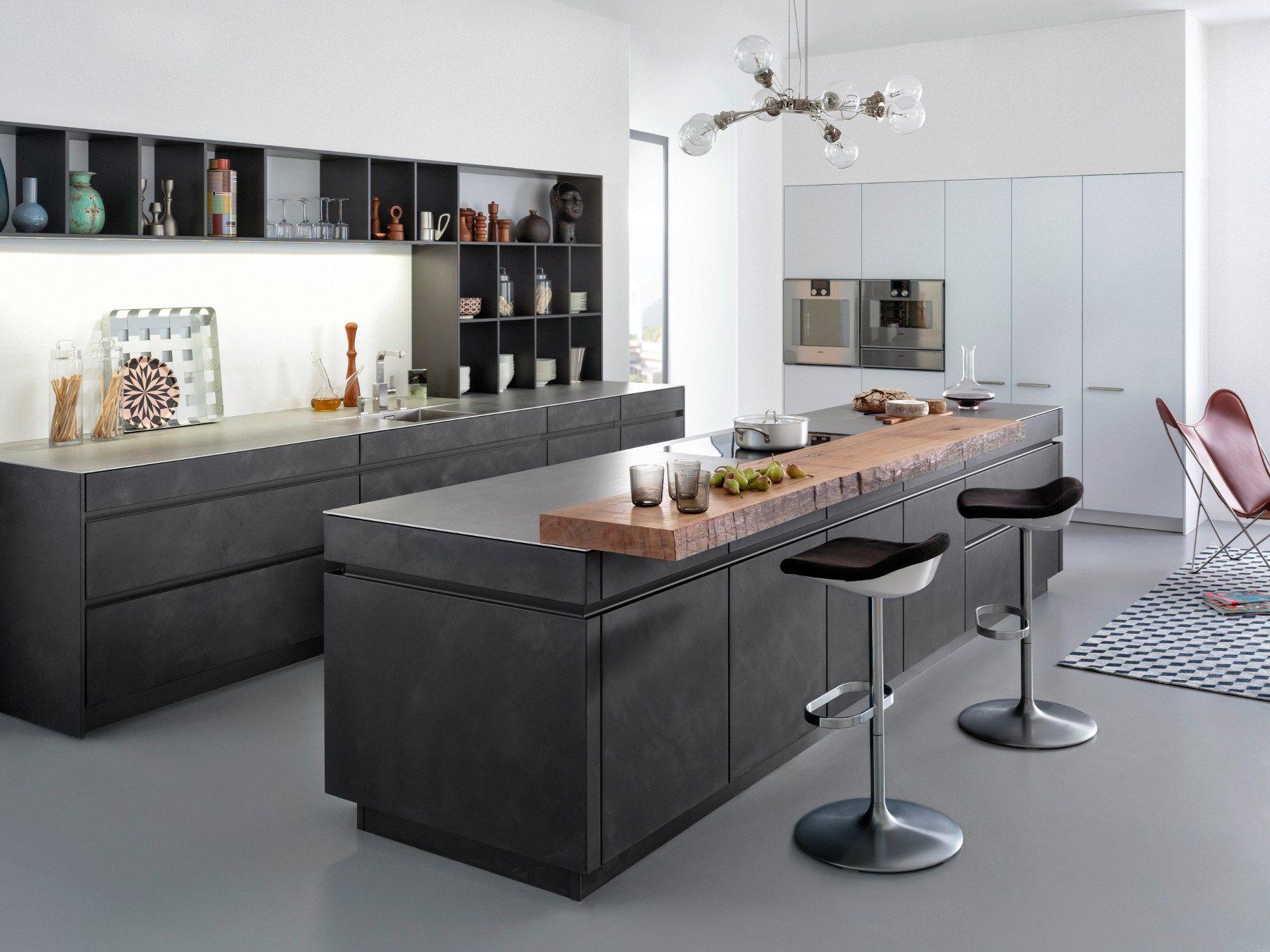 Kitchen with island CONCRETE-A By LEICHT Küchen | {Leicht küchen logo 34}