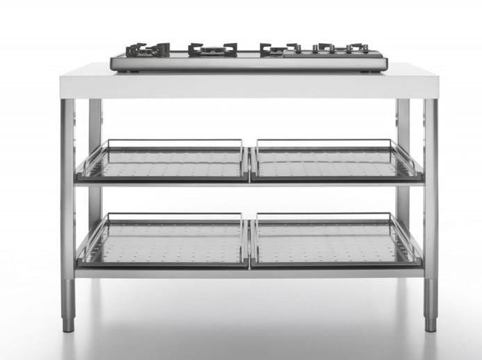 Modulo cucina in acciaio inox con piano cottura cottura - Cucina piano cottura ...