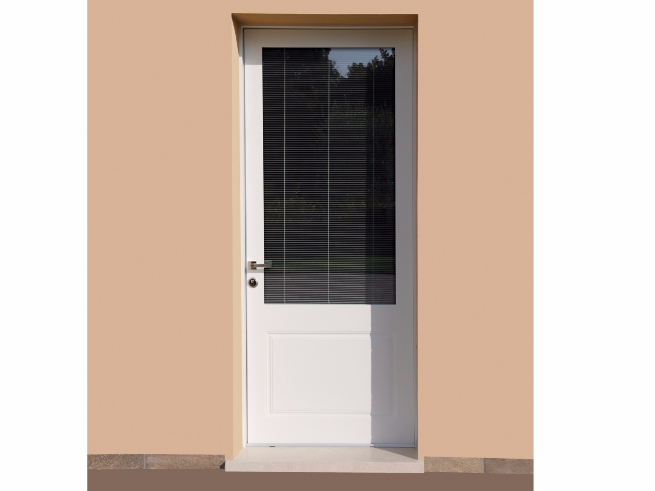 Porta d 39 ingresso acustica blindata in acciaio e vetro - Maniglia porta ingresso ...