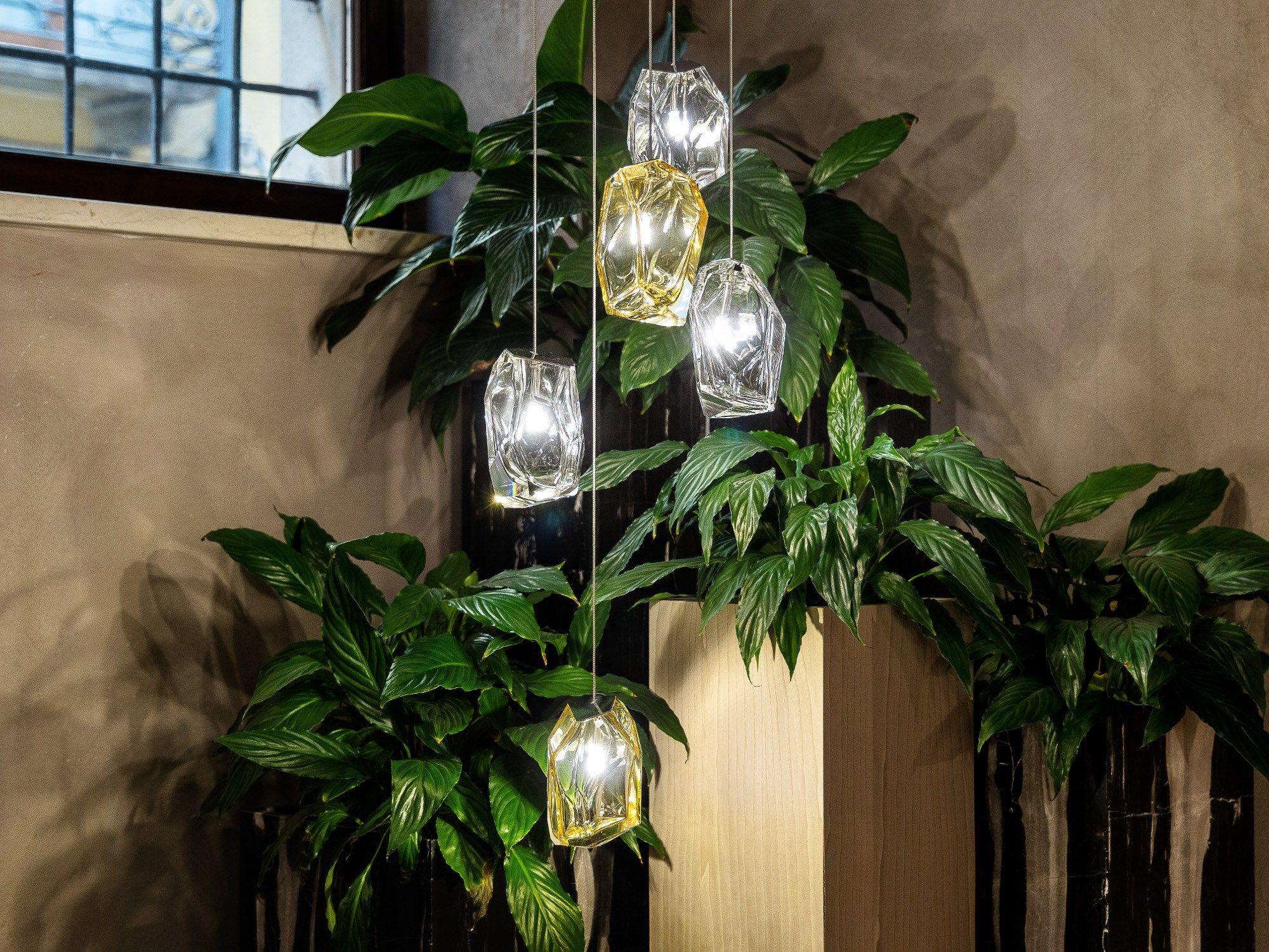 Lampada a sospensione in vetro soffiato CRYSTAL ROCK by Lasvit design Arik Levy