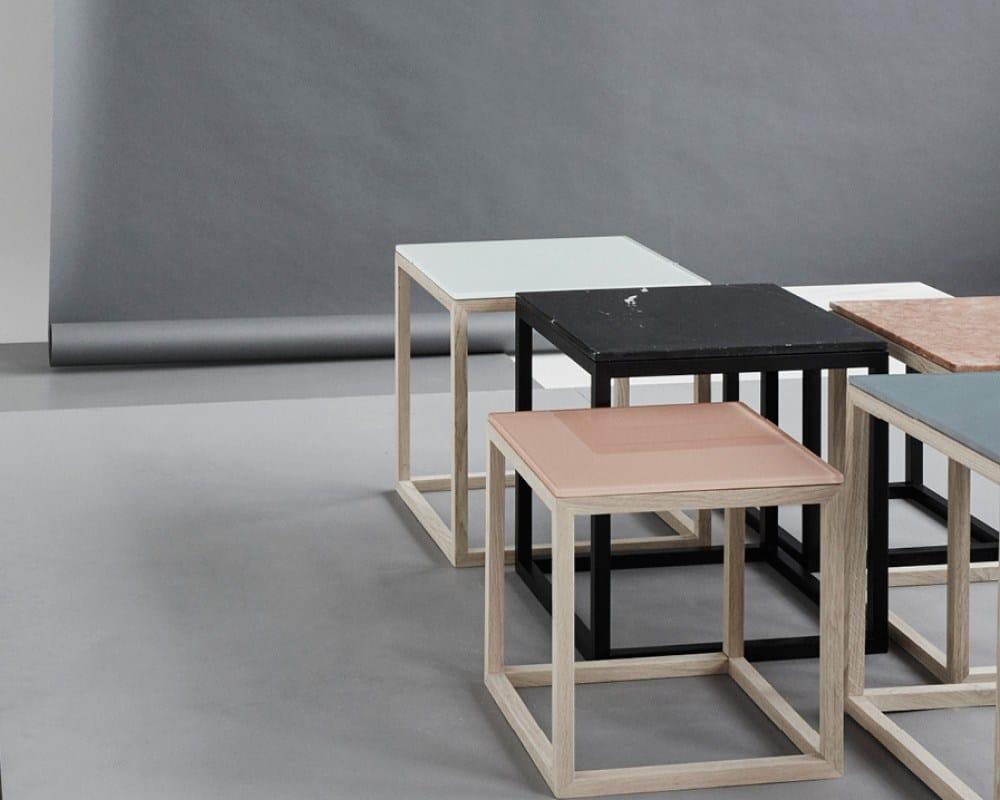 Tavolino comodino in vetro cube table oak glass by - Tavolino comodino ...