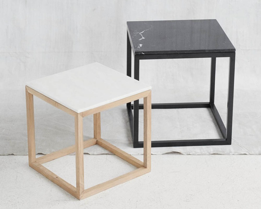 Marble Coffee Table Bedside Table Cube Table Oak Marble By Kristina Dam Studio