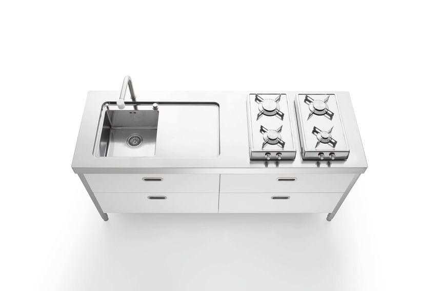 Cucina 190 bianca cucina in acciaio inox collezione liberi - Maniglie cucina acciaio ...