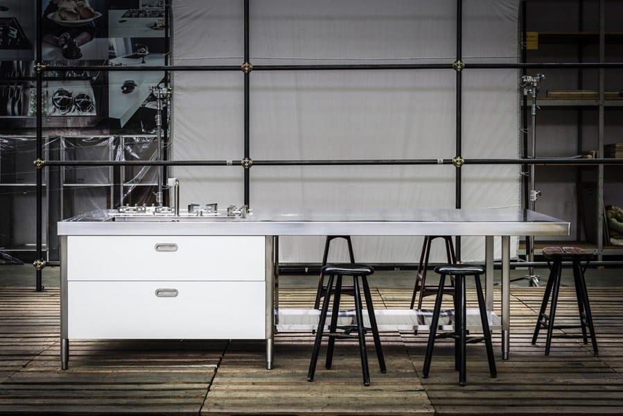 Cucina convivio top inox 125x310 cucina con isola - Maniglie cucina acciaio ...