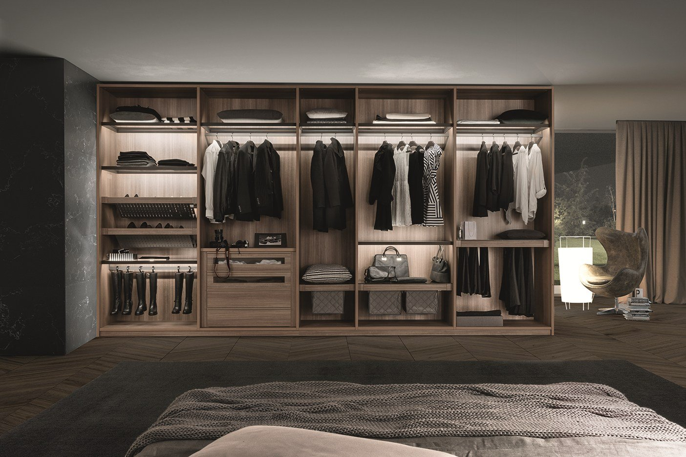 dressing composable en bois de style contemporain cabina armadio tecnopolis free by presotto. Black Bedroom Furniture Sets. Home Design Ideas
