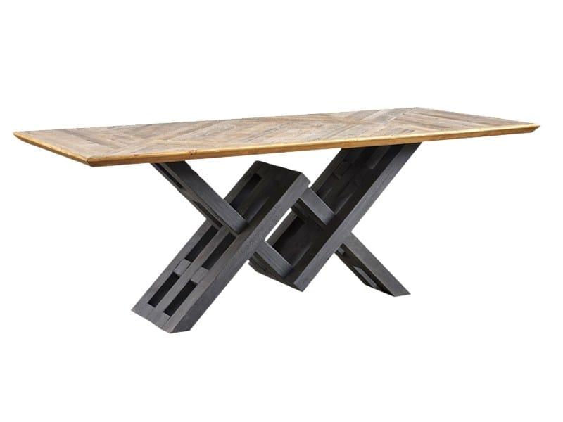 Tavolo da pranzo rettangolare in legno di recupero DB004126 by Dialma Brown