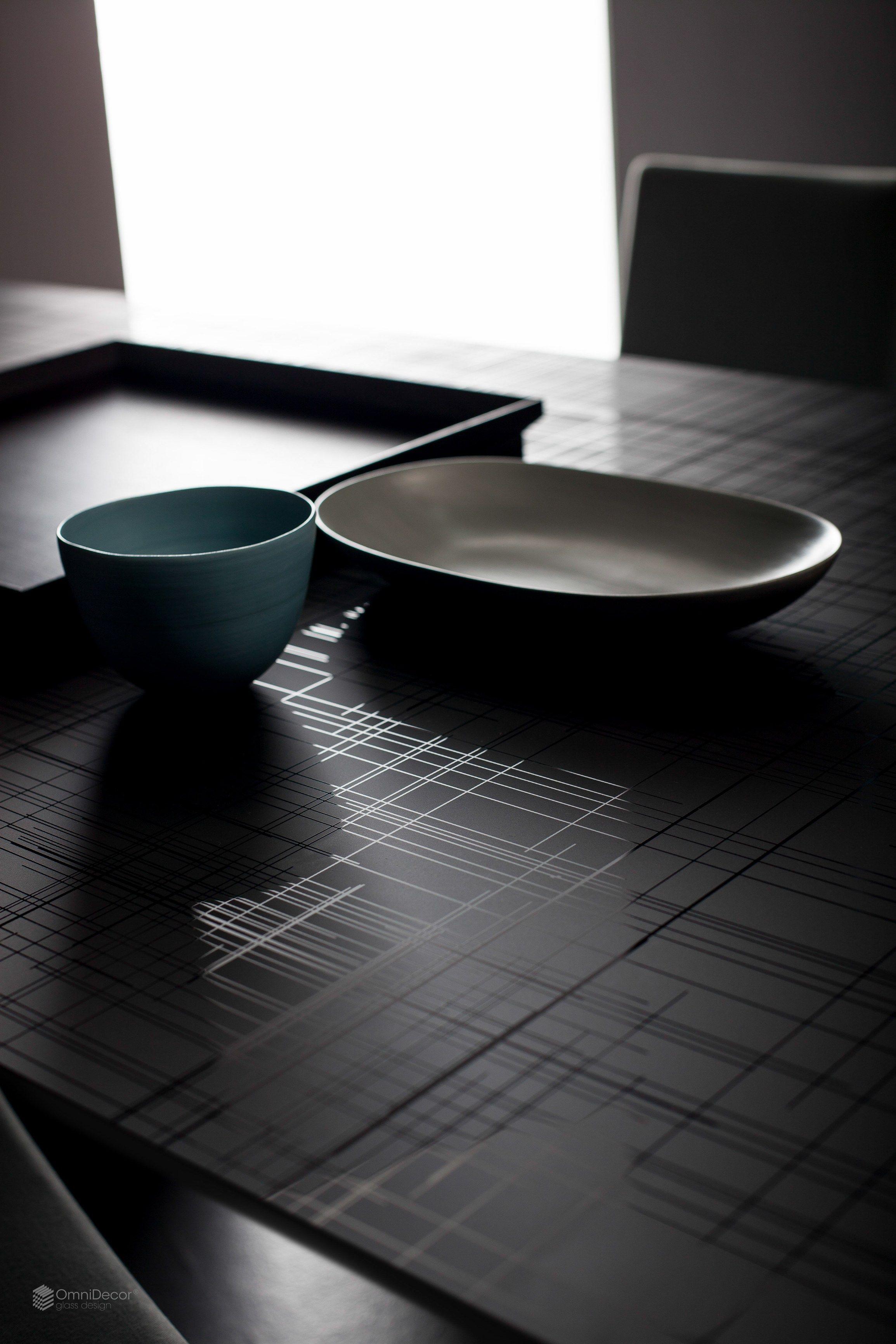 Piano per tavoli in vetro decorato decorflou design linen for Tavoli in vetro design