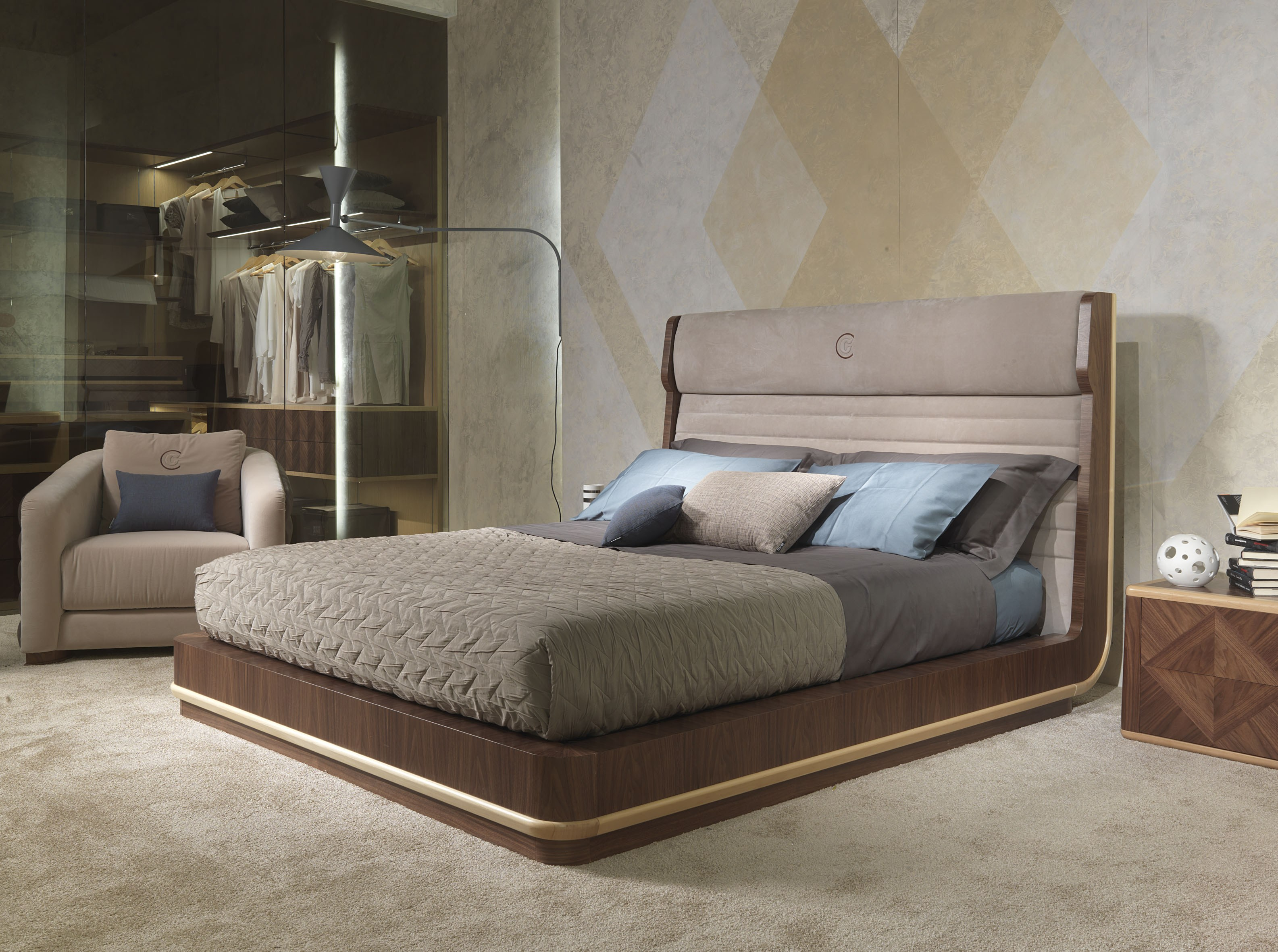 galileo  bed with high headboard by carpanelli contemporary -