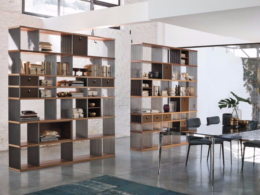 Libreria autoportante bifacciale in acciaio e legno diesys for Libreria ad albero prezzi