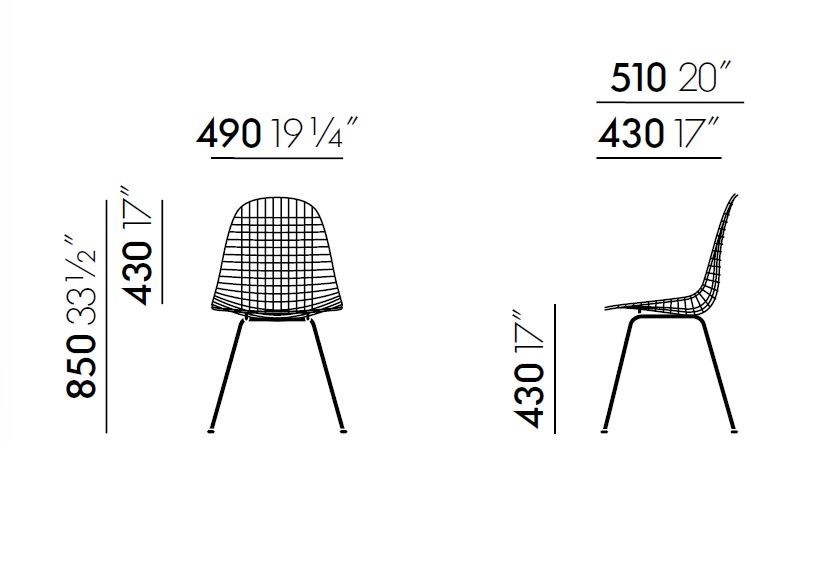 steel chair dkx wire chair collection by vitra design