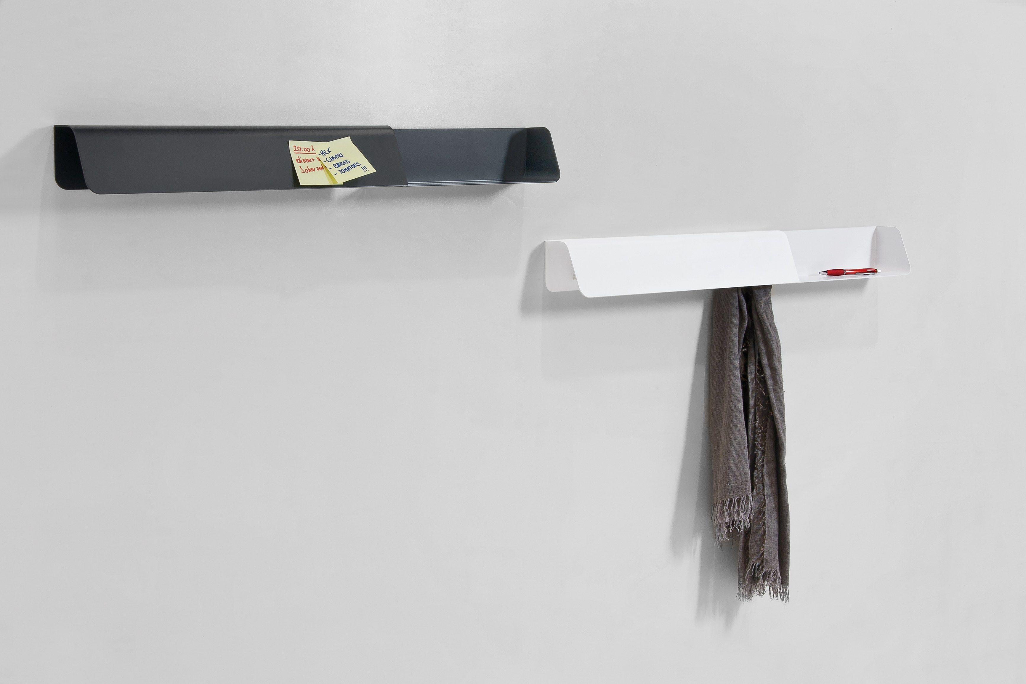 Steel coat rack wall shelf dock by b line design busetti for Garderobe ablage metall