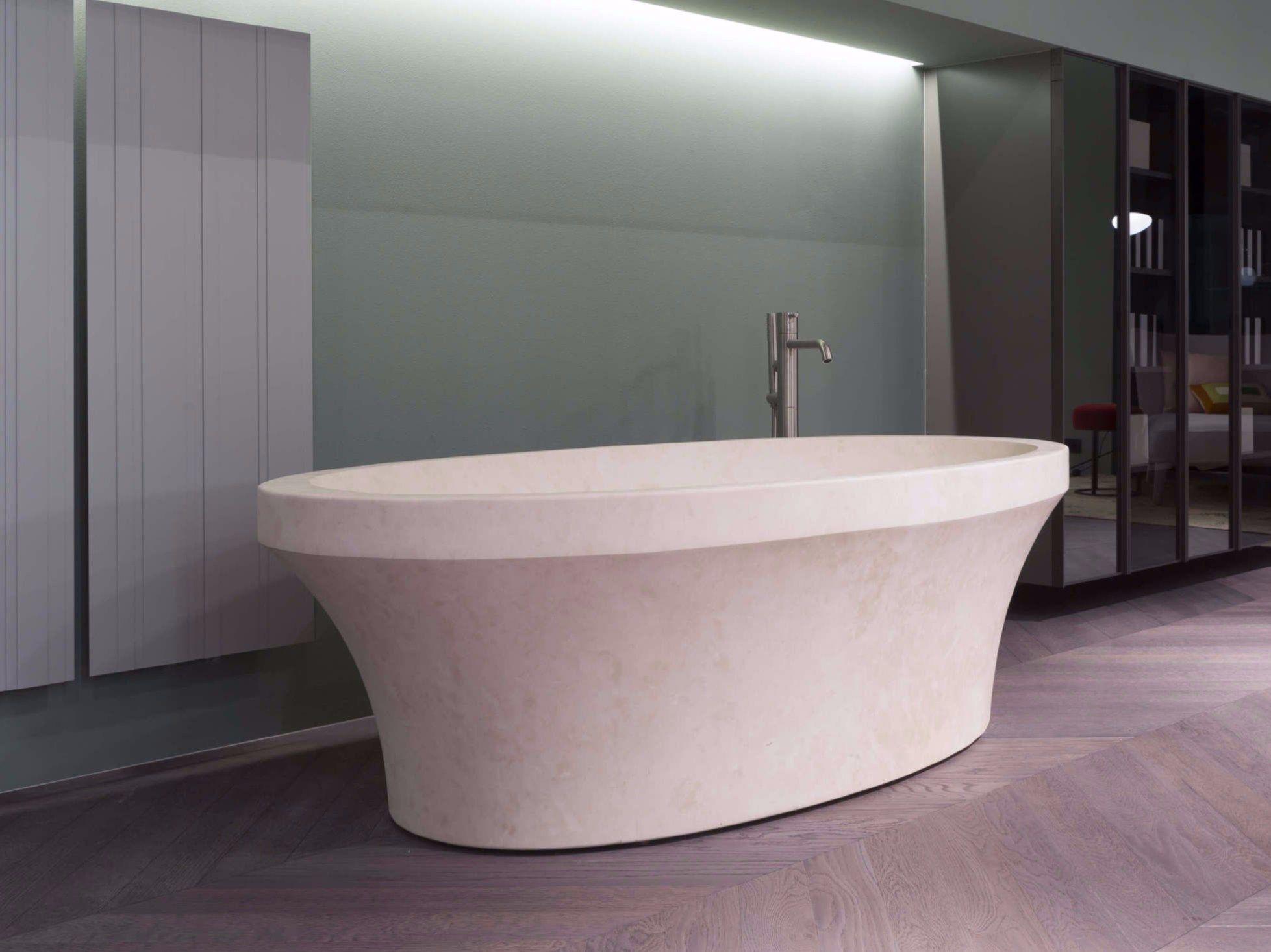 Vasca da bagno centro stanza ovale in pietra naturale - Vasca da bagno in pietra ...
