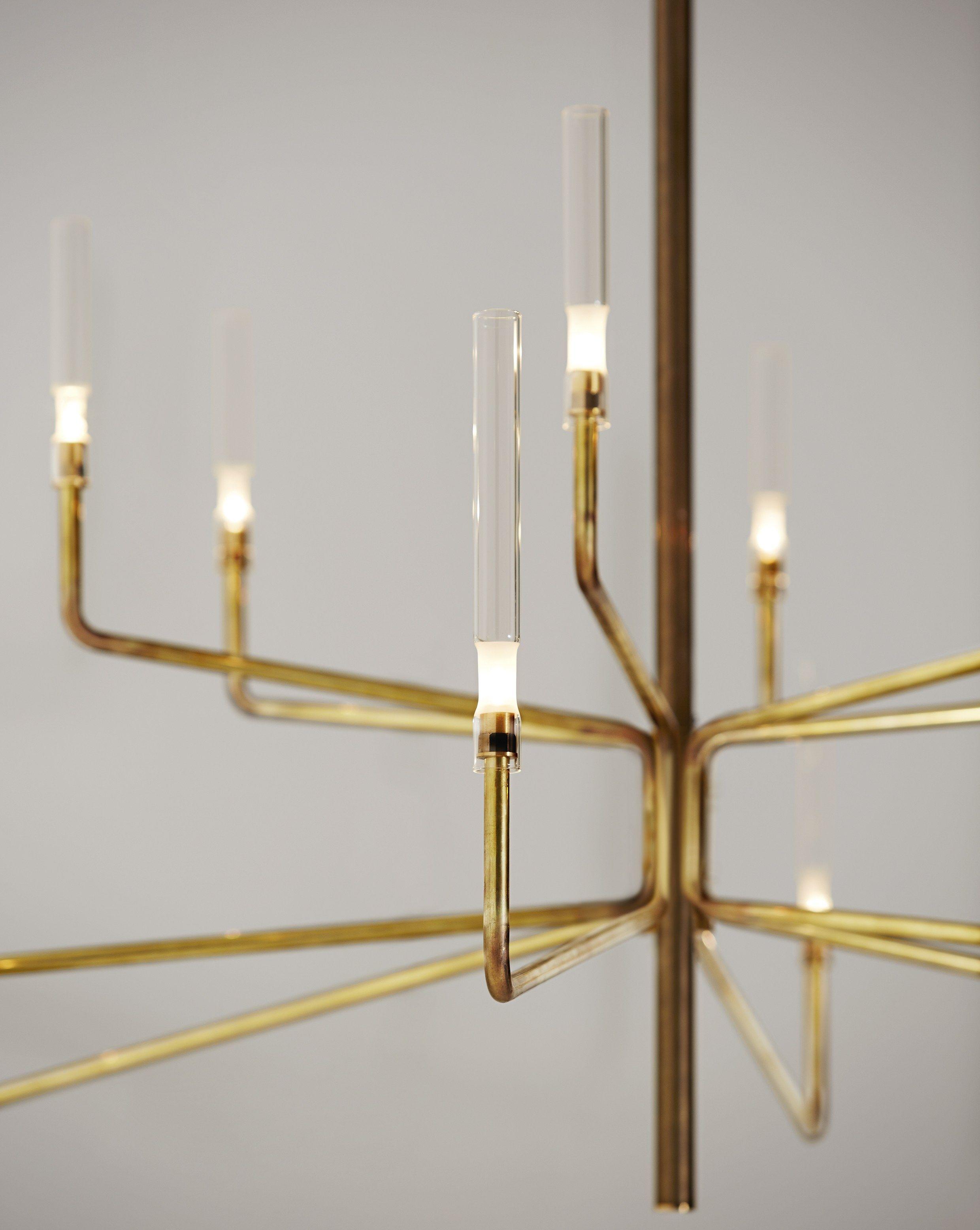 brass chandelier with dimmer epsilon by gallotti radice design massimo castagna. Black Bedroom Furniture Sets. Home Design Ideas