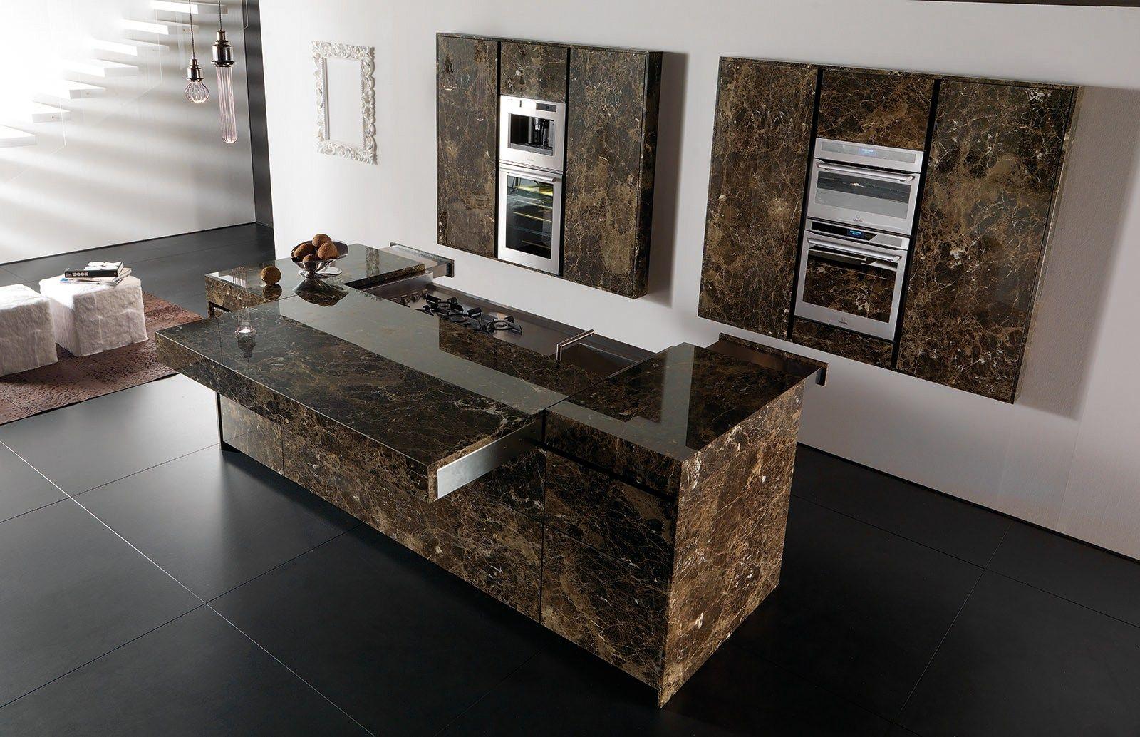 Cucina in marmo con isola ESSENTIAL EMPERADOR DARK by TONCELLI CUCINE