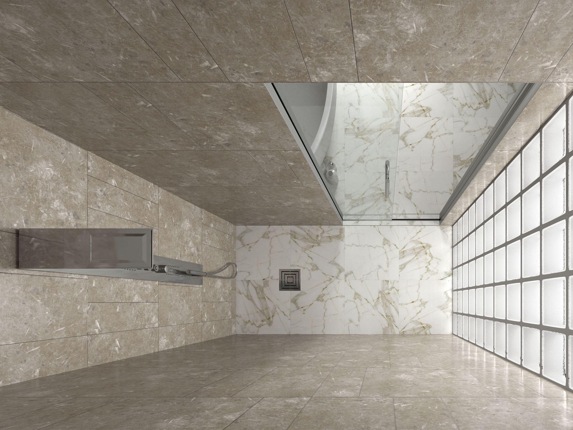 Porta scorrevole interno muro per box doccia essential doccia by scrigno - Piatto doccia raso pavimento ...