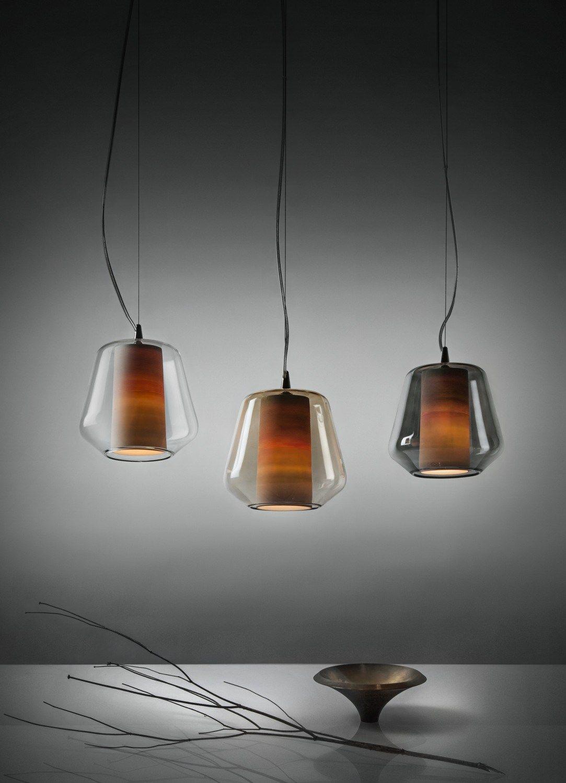 Lampada a sospensione in vetro soffiato etica lampada for Lampade a sospensione