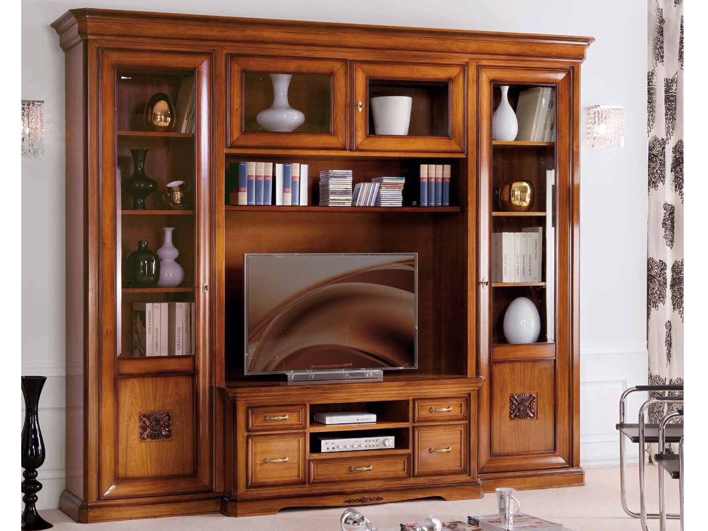 Exclusive parete attrezzata in legno massello collezione - Muebles para teles ...