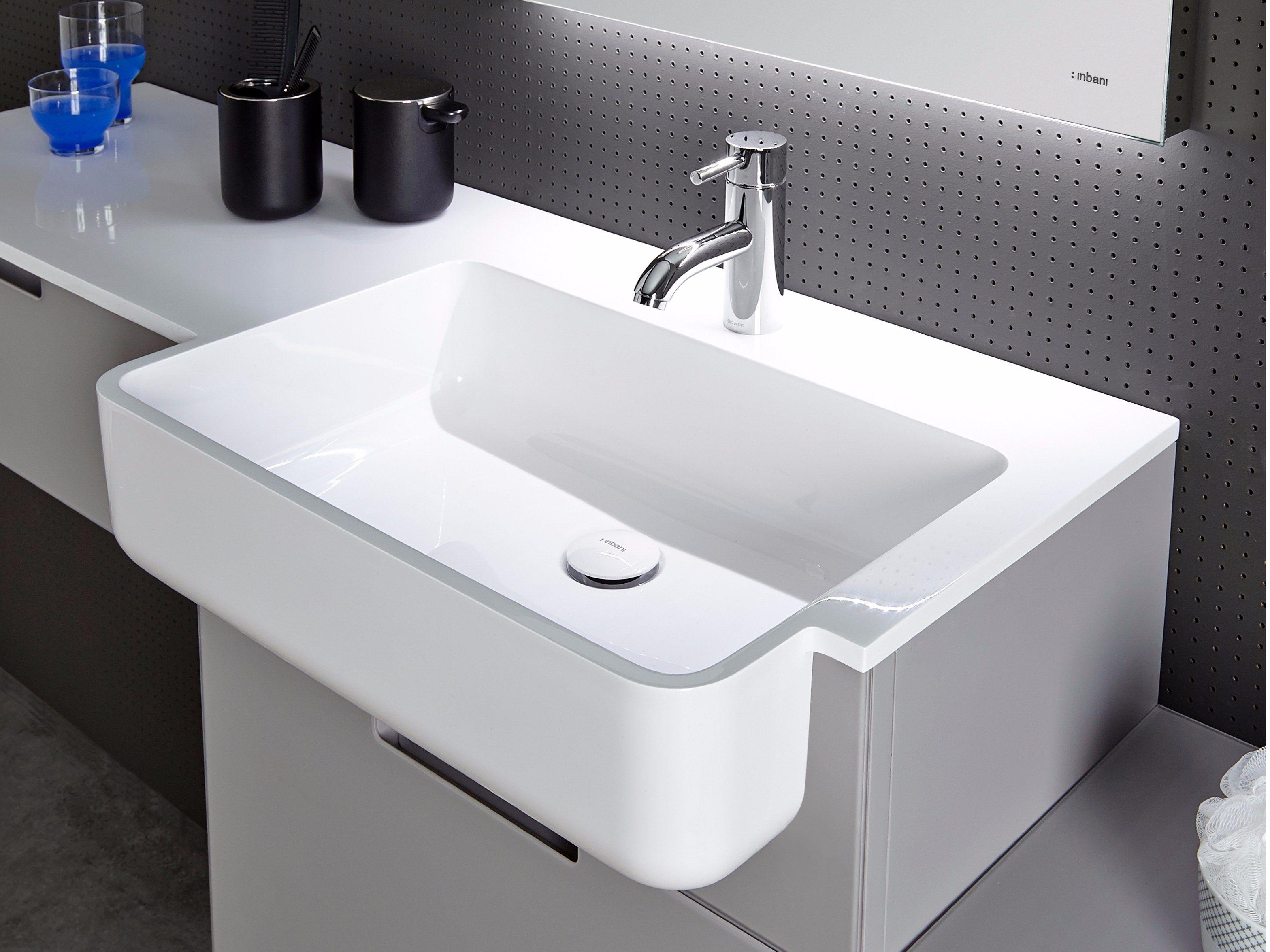 Piano lavabo in Mineralmarmo® EXIO by INBANI