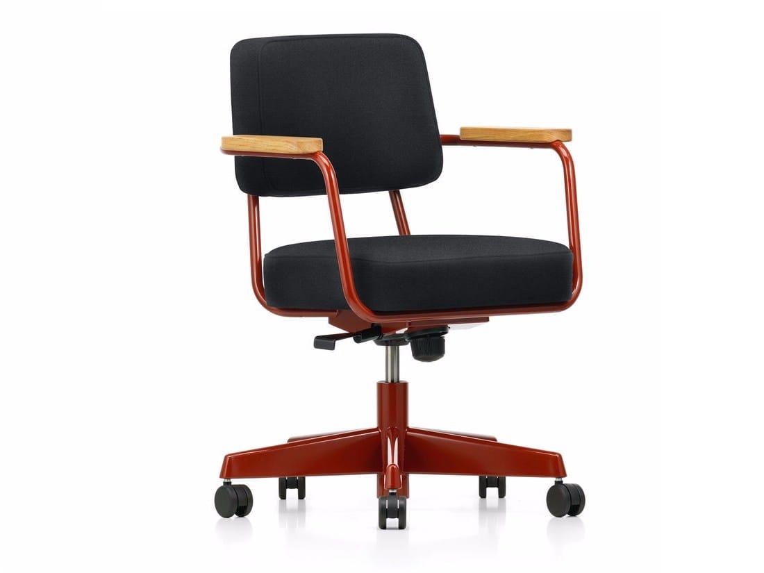 sedia ad altezza regolabile con ruote fauteuil direction pivotant by vitra design jean prouv. Black Bedroom Furniture Sets. Home Design Ideas