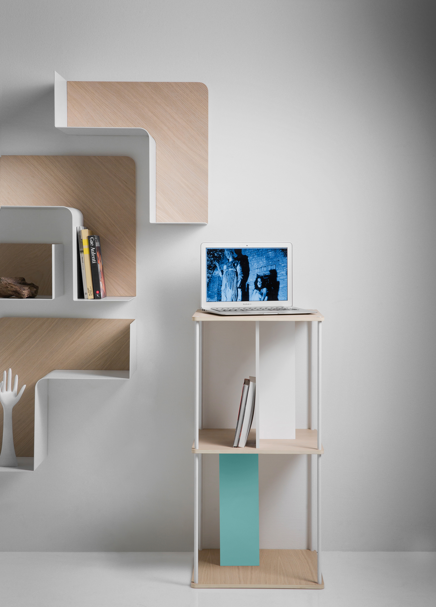 Wooden wall shelf fishbone by b line design favaretto partners - Bookshelf design on wall ...