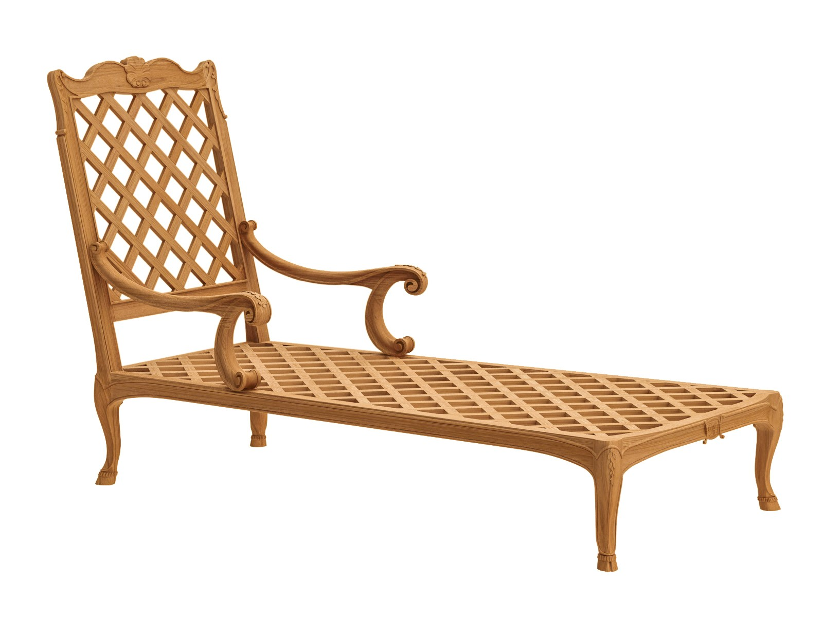 Fleur de lys chaise longue by astello design dominique for Chaises longues de jardin en teck