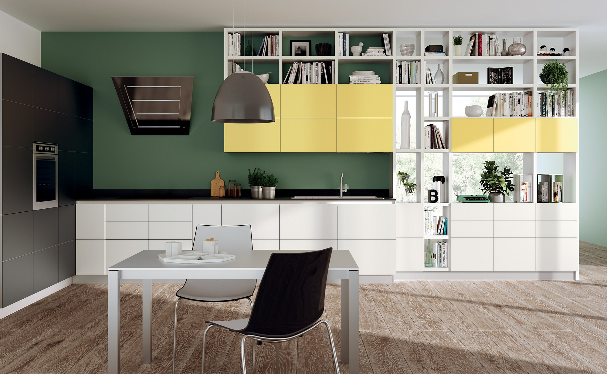 fluida - integrated kitchen module integrated living rooms line