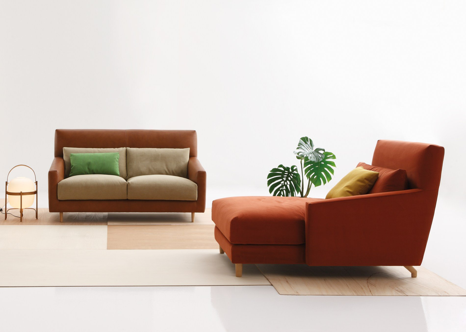 Fabric sofa with headrest folk sofa with chaise longue for Chaise longue furniture