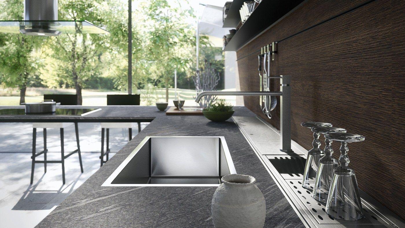 Cucina componibile forma mentis legno by valcucine for Arredamenti low cost