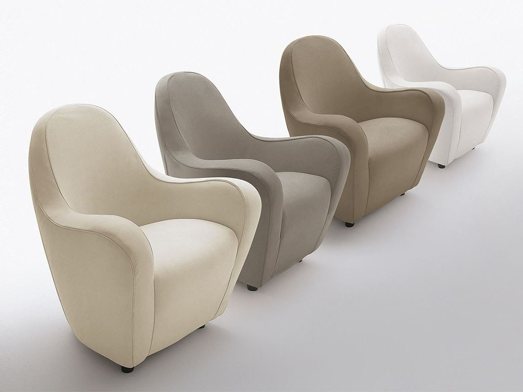 Upholstered wooden armchair with armrests fortuna by for Arosio arredamenti