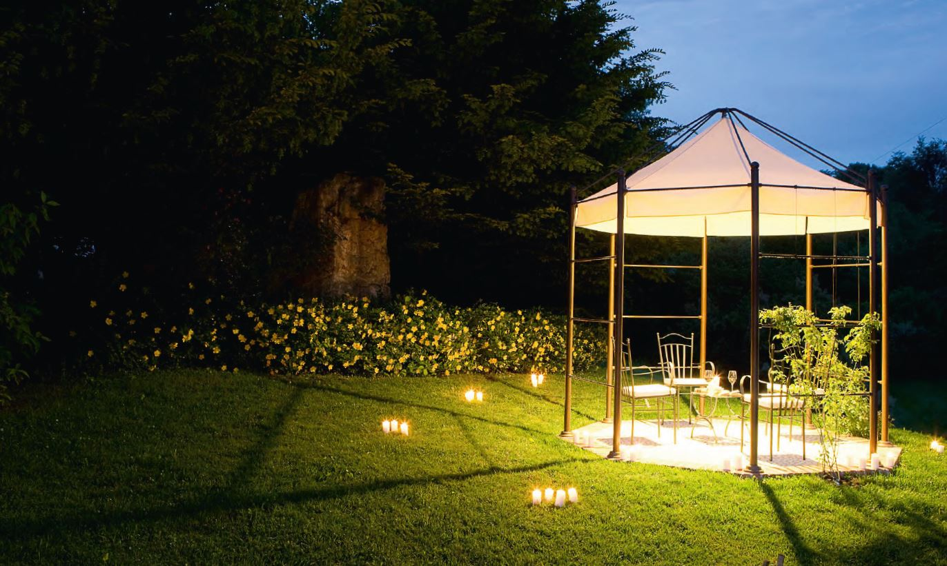 Metal gazebo with built in lights frassanelle by aldo bernardi for Built in gazebo