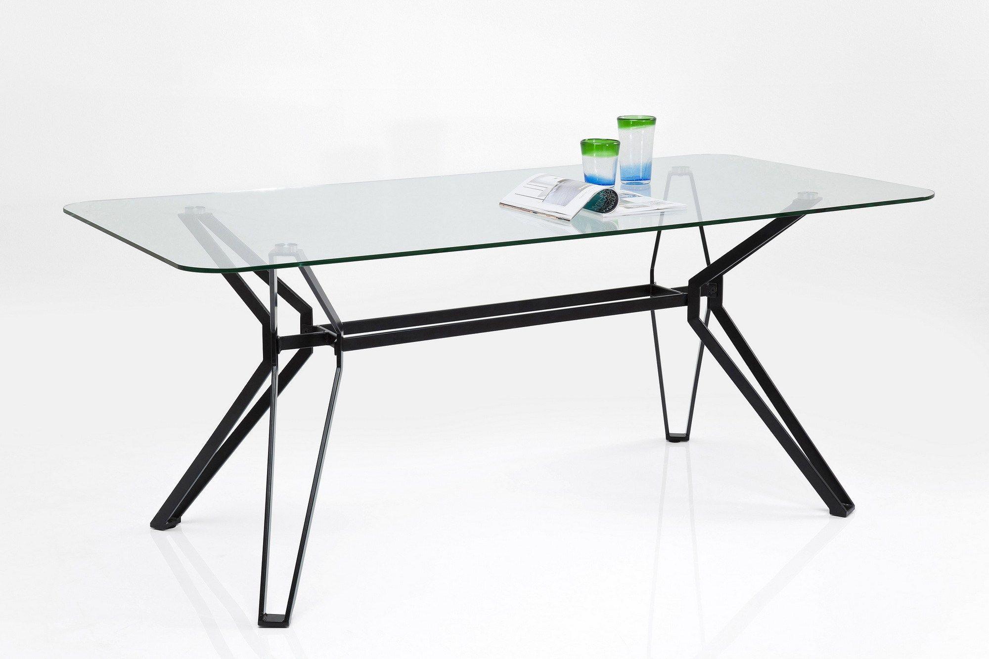 Tavolo rettangolare in acciaio e vetro garbo by kare design for Tavolo rettangolare design